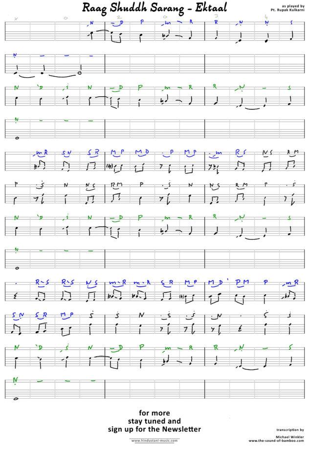 Raag Shuddh Sarang - Ektaal transkription R.KULKARNI