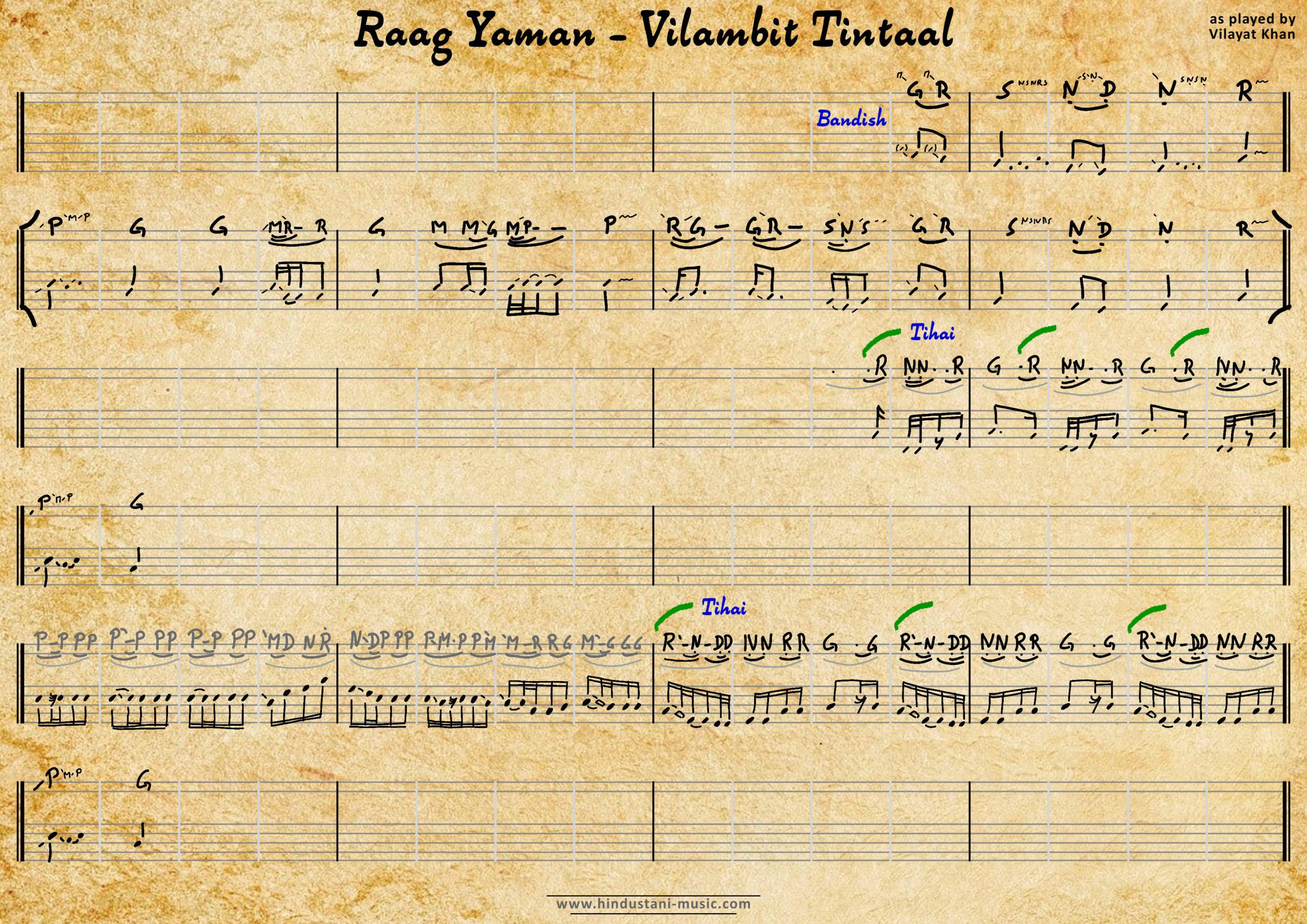 Yaman - VILAYAT KHAN - Vilambit Tintaal