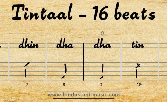 16 beats tala Tintaal (Teentaal)